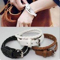 la mujer de acero inoxidable pulseras joyas pulsera Envío libre, moda cinturón de hermanamiento Pulsera de cuero de estilo, la mejor calidad (China (continental))