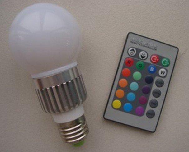 free shipping E27 LED RGB light/led RGB lamp