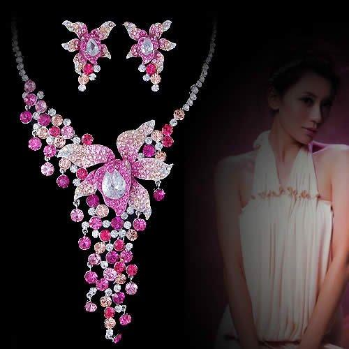 Bridal jewelry set wholesale bridal jewelry for Pink wedding jewelry sets