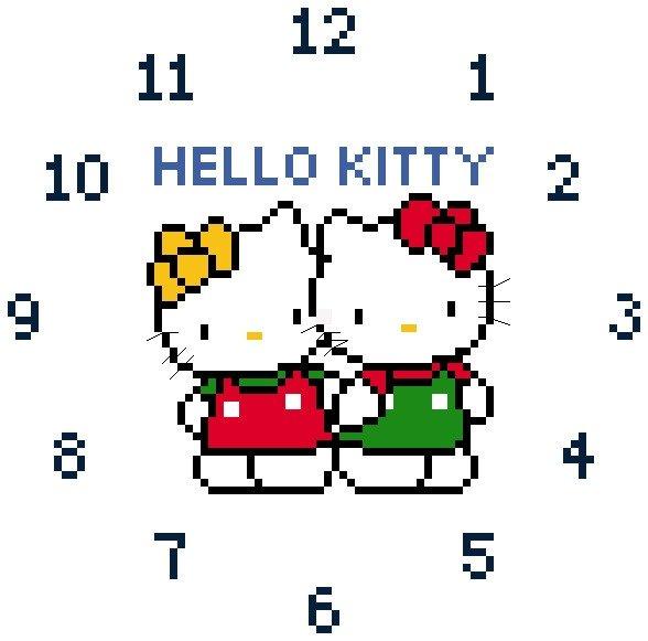 kitty cross stitch clock face