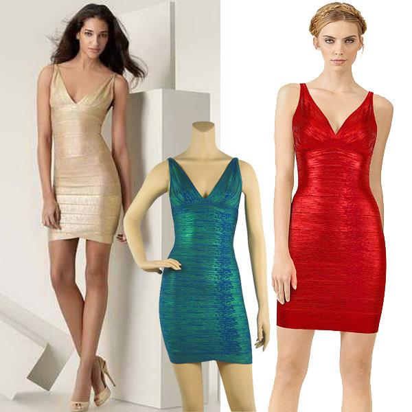 Bandage Dress on Women Evening Dresses New Fashion Gold Foil Print Bandage Dress