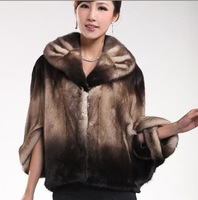 lamb leather long vest with fur collar Black fashion dress and retail FS1192201100