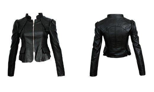 Black Ladies Leather Jacket