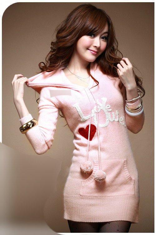 2010 autumn and winter new wool ball V Neck Hooded embroidery long sweater pink white cute Ellen Saint (сцена из «Swank XXX Teens») [2005 г., Teen, Hardcore, Anal, ...