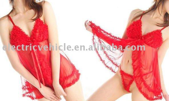 6pcs/lot Pink sheer Babydoll women's Sexy Lingerie