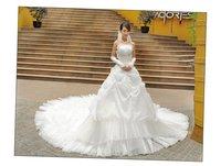 Свадебное платье New fashion Crystal Yarn Sleeveless with bow Princess line Wedding/Evening bridal 2013 New Fashion