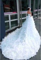 Свадебное платье New fashion Satin Princess line Wedding Gown Fairy bridal dress Artificial beaded Pierced 2013 New Fashion