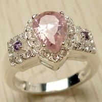 Fashion Jewelry emerald quartz  925 sterling silver Gemstone Ring size #7  12b11