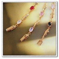 Moda CZ brazalete de cobre con oro 18k pulsera, cadena y pulsera de Enlace, joyas pulsera del encanto, Gastos de envío gratis (China (continental))