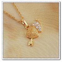Collar libre, pendiente la forma del corazón, de cobre, con colgante de circón 18k oro, Gastos de envío gratis (China (continental))