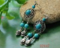 BEST SELLING 60pairs Mixed Lot Blue Turquoise + Tibetan Silver Skeleton Pendant Earring Fashion Jewelry Free Shipping
