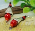 Fashion Jewelry Red Turquoise+ Tibet Silver Bell Pendant Earring Dangler Fashion Jewelry 50pairs Mixed Lot Free Shipping