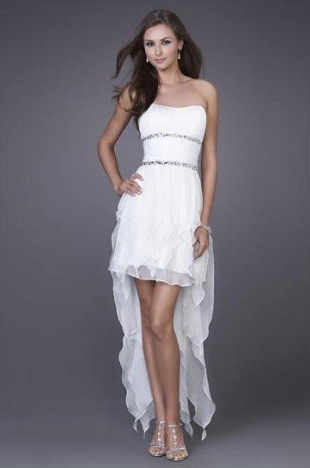 Free shipping beaded strapless asymmetrical wedding dress evening