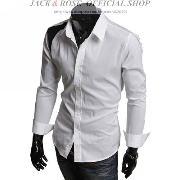 Mens white casual dress shirt