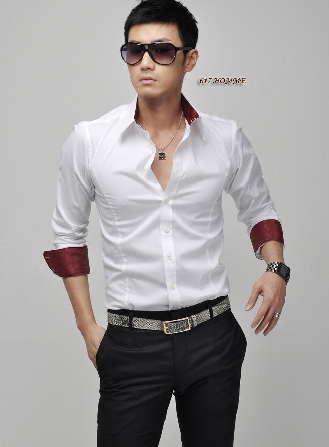 Shipping Fashion Slim Sexy Top long sleeve casual shirt men's shirt ...