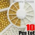 10 Pcs Lot Golden Silver Steel Bean Bead 0.9 mm Mini Ball Wheel Nail Art 3D Tip Decoration FREE SHIP