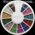 12 Color Mini Ball 0.9 mm Bead Bean NAIL ART 3D Tips Decoration with Wheel + Free Shiping 20 Pcs lot