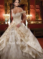 Free shipping new white satin stylish appliques lace cap sleeve beautiful princess wedding gown