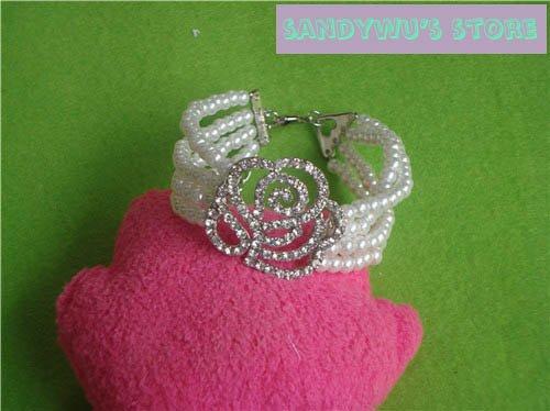 free shipping Wholesale accept paypal 5pcs min order crystal rose pearl bangle
