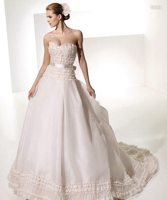 designer wedding dress with satin belt bow wholesale bridal gown