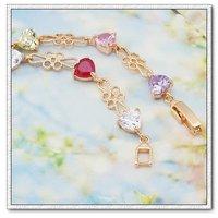 Forma de corazón CZ pulsera, brazalete de cobre con baño de oro 18k, Gastos de envío gratis (China (continental))