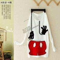 Женская футболка Women Cartoon Loose Long T-shirt Top Red Mikey Mouse Mini Dress Longshirt Coat Outwear Gift Ship