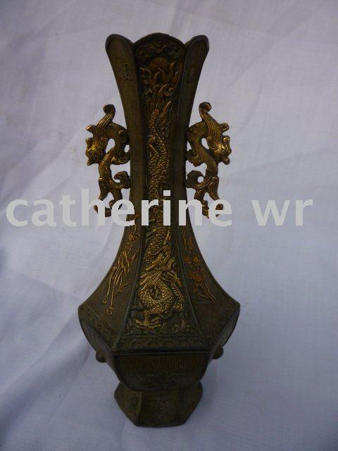 Lot 246: Chinese Gilt Bronze Dragon Vase - Showplace Antique