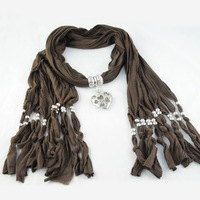 Женский шарф Elegant Round Shaped Metal Pendant Necklace Long Tassel Winter Shawls, 5 Colors Available, NL-1617