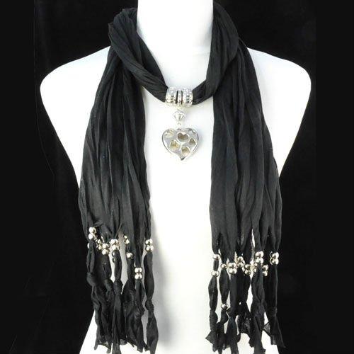 heartpendantnecklacescarfjewelleryscarfjewelbeadspendantscarf  Cute Cheap Fashion Scarves