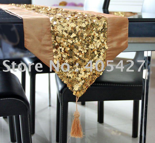 2011 New Design Sequin Europe Elegant Table Runner Tablemat  Freeshipping  Five Color Glod
