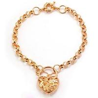 Corazón de la moda forma joyas pulsera, brazalete de cobre con oro 18k, pulsera del encanto, Gastos de envío gratis (China (continental))