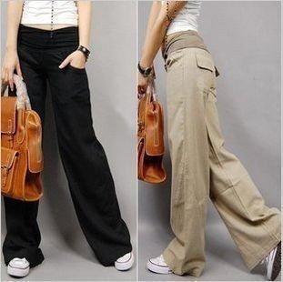 Womens Wide Leg Cargo Pants