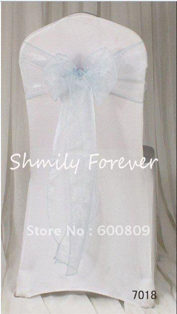 Free shipping 100PCS 7 108 18 275cm Light Blue Organdy Chair Sashes Wedding