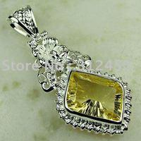 La moda de ventas calientes de joyería de plata hechos a mano de piedras preciosas joyas luz citrino envío gratis LP0315 (China (continental))