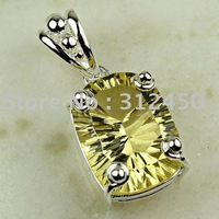 La moda de ventas calientes de joyería de plata hechos a mano de piedras preciosas joyas luz citrino envío gratis LP0325 (China (continental))