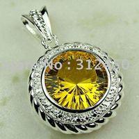 La moda de ventas calientes de joyería de plata hechos a mano de piedras preciosas joyas de citrino de envío gratis LP0335 (China (continental))