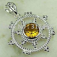 Ventas caliente 5PCS moda de joyería de plata hechos a mano de piedras preciosas joyas de citrino de envío gratis LP0334 (China (continental))