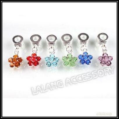 Flower Beads on Flower Shape Rhinestone Dangle Bead Fit Charms Women S Jewelry Diy