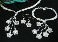 EVYSTZ(7) Wholesale Fashion Silver Wedding Jewelry Set Flower Rings & Bracelet Bangle Set For Women Free Shipping Hight Quality