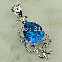Joyas de plata caliente ventas hechas a mano suizo topacio azul piedra preciosa joyería libre LP0707 de envío (China (continental))