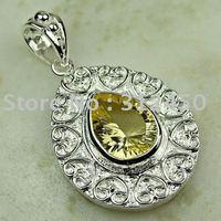 Joyas de plata caliente ventas hechas a mano de piedras preciosas joyas de la luz citrino libre LP0711 de envío (China (continental))