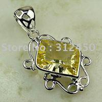 Joyas de plata Suppry hechos a mano de piedras preciosas joyas luz citrino envío gratis LP0709 (China (continental))