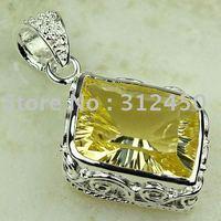 Joyería de plata hechos a mano de piedras preciosas joyas luz citrino envío gratis LP0755 (China (continental))