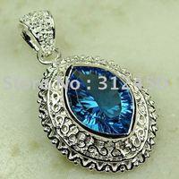 Moda suizo azul piedra preciosa topacio colgante de plata de la joyería en el tamaño de 1,65 envío gratuito LP0773 (China (continental))