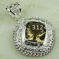 5PCS moda plata de cuarzo ahumado piedra colgante de joyería de envío gratis a LP0757 (China (continental))