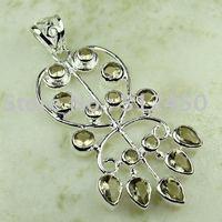 La moda de piedras preciosas de cuarzo ahumado Wholeasle colgante de plata joyería de envío gratis a LP0788 (China (continental))
