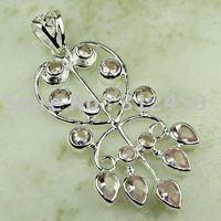 Wholeasle moda rosa piedra preciosa topacio colgante de plata joyería de envío gratis a LP0789 (China (continental))