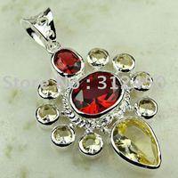 Wholeasle manera la luz la piedra preciosa citrino colgante de plata joyería de envío gratis a LP0787 (China (continental))