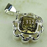 La moda de joyería de plata Suppry piedra de cuarzo ahumado Colgante envío gratis LP0781 joyas (China (continental))