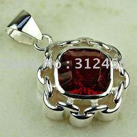 Suppry plata joyería de moda colgante de piedras preciosas de color rojo Kunzite envío gratis LP0759 joyas (China (continental))